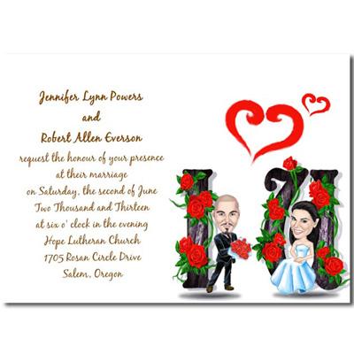 Invito Matrimonio Spiritoso Rose Rosse Sposi Carini WFH3009