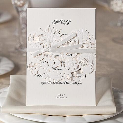 Prezzi Partecipazioni Matrimonio.Partecipazioni Nozze Eleganti Astuccio Taglio Laser Fascia Wpl0027